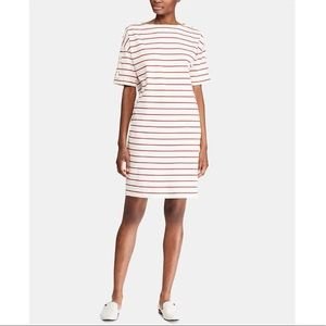 Ralph Lauren Striped Jersey Boatneck Shift Dress